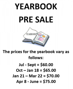2018 - 2019 Yearbook Pre-Sale