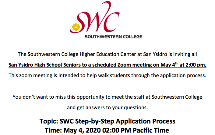 SWC Application Process Opportunity through Zoom Meeting