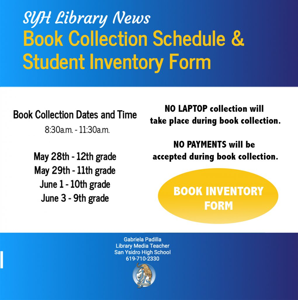 SYH Library Book Collection Schedule and Student Inventory Form